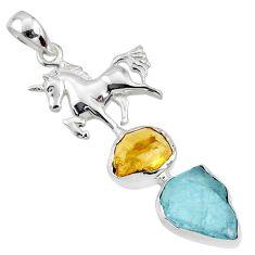 925 silver 14.81cts natural aqua aquamarine rough fancy horse pendant r65050