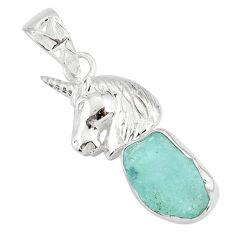 925 silver 6.53cts natural aqua aquamarine raw fancy horse pendant r80940