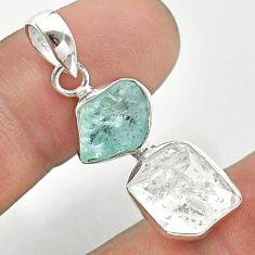 925 silver 9.37cts natural aqua aquamarine raw herkimer diamond pendant t49146