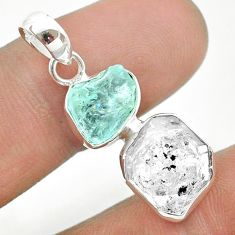925 silver 9.37cts natural aqua aquamarine raw herkimer diamond pendant t49149
