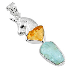 925 silver 13.41cts natural aqua aquamarine rough horse pendant jewelry r57074