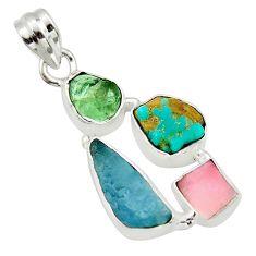 925 silver 14.47cts natural aqua aquamarine rough moldavite opal pendant r40360