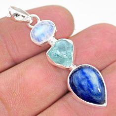 925 silver 12.10cts natural aqua aquamarine raw moonstone pendant t25424