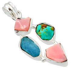 925 silver 15.55cts natural aqua aquamarine rough pink opal pendant r40312