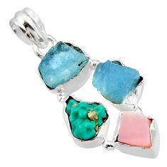925 silver 15.02cts natural aqua aquamarine rough pink opal pendant r40316
