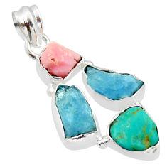 925 silver 16.54cts natural aqua aquamarine rough pink opal pendant r40319