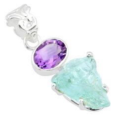 925 silver 11.65cts natural aqua aquamarine raw purple amethyst pendant r83110