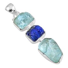 925 silver 18.70cts natural aqua aquamarine rough sapphire rough pendant r57026