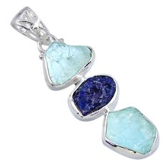 925 silver 15.58cts natural aqua aquamarine rough sapphire rough pendant r57027
