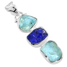 925 silver 16.20cts natural aqua aquamarine rough sapphire rough pendant r57029