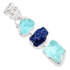925 silver 13.15cts natural aqua aquamarine raw sapphire rough pendant r83074