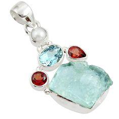 925 silver 17.57cts natural aqua aquamarine rough topaz pearl pendant d45344