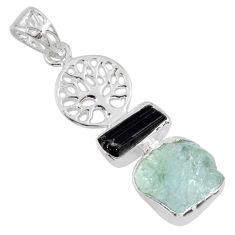 925 silver 10.41cts natural aqua aquamarine rough tree of life pendant r55484