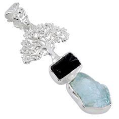 925 silver 10.24cts natural aqua aquamarine rough tree of life pendant r55487