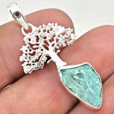925 silver 6.72cts natural aqua aquamarine raw tree of life pendant t31068