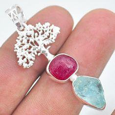 925 silver 12.34cts natural aqua aquamarine raw tree of life pendant t33568