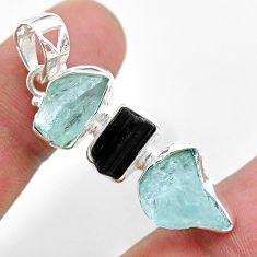 925 silver 13.55cts natural aquamarine raw tourmaline raw pendant t33374