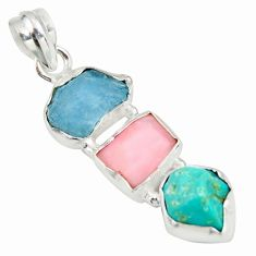 925 silver 12.62cts natural aquamarine rough pink opal turquoise pendant r26864