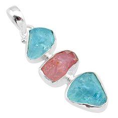 925 silver 11.71cts natural aquamarine raw rose quartz rough pendant t33320