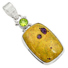 Clearance Sale- 925 silver natural atlantisite (tasmanite) stichtite-serpentine pendant d42085