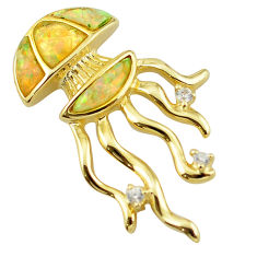 925 silver natural australian opal (lab) 14k gold octopus pendant a60911 c15407