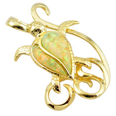 925 silver natural australian opal (lab) 14k gold turtle pendant a61031 c15287