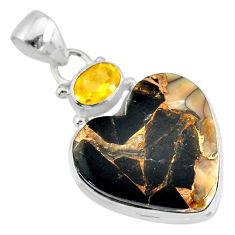 925 silver 14.72cts natural black australian obsidian citrine pendant r83464