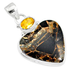 925 silver 16.20cts natural black australian obsidian citrine pendant r83518