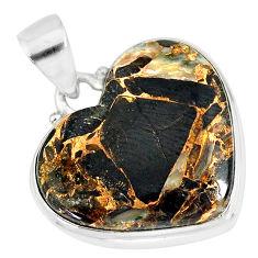 925 silver 13.15cts natural black australian obsidian heart pendant r83234