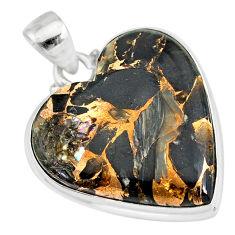 925 silver 15.67cts natural black australian obsidian heart pendant r83240