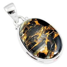 925 silver 11.73cts natural black australian obsidian oval pendant r83413