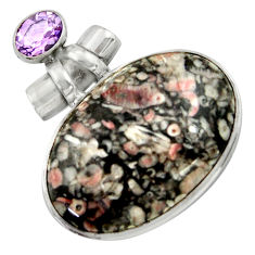 925 silver 33.70cts natural black crinoid fossil purple amethyst pendant r41651