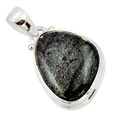 925 silver 13.57cts natural black honduran matrix opal fancy pendant r33854