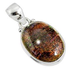 925 silver 10.65cts natural black honduran matrix opal oval pendant r77999