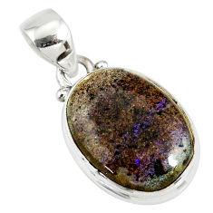 925 silver 10.65cts natural black honduran matrix opal oval pendant r78009