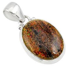 925 silver 9.68cts natural black honduran matrix opal oval pendant r80344