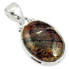 925 silver 10.72cts natural black honduran matrix opal oval shape pendant r78012