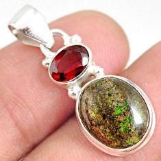 925 silver 5.92cts natural black honduran matrix opal red garnet pendant r75964
