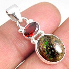 925 silver 5.52cts natural black honduran matrix opal red garnet pendant r75977