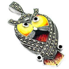 925 silver natural black onyx marcasite enamel owl pendant jewelry c16444
