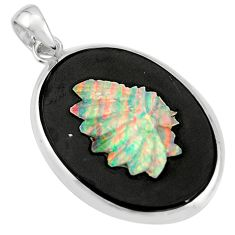 925 silver 17.39cts natural black opal cameo on black onyx pendant r20204