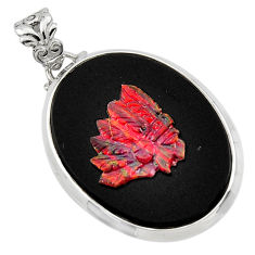 925 silver 22.59cts natural black opal cameo on black onyx pendant r48790