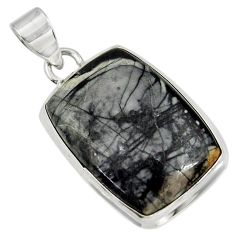 925 silver 22.57cts natural black picasso jasper octagan shape pendant d41254