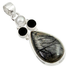 Clearance Sale- 925 silver 18.43cts natural black picasso jasper onyx pearl pendant d43032