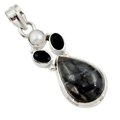 Clearance Sale- 925 silver 12.96cts natural black picasso jasper onyx pearl pendant d45309