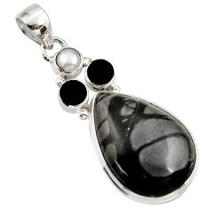 925 silver 19.72cts natural black picasso jasper onyx pearl pendant d45314