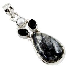 925 silver 17.22cts natural black picasso jasper onyx pearl pendant d45318