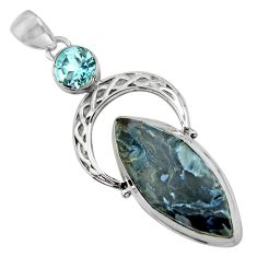 925 silver 21.67cts natural black pietersite (african) blue topaz pendant r39136