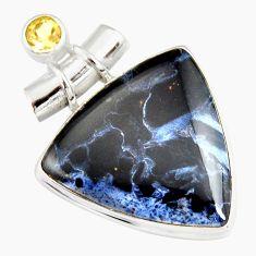 925 silver 19.68cts natural black pietersite (african) citrine pendant r20074