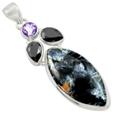 925 silver 25.00cts natural black pietersite (african) onyx pendant r39130